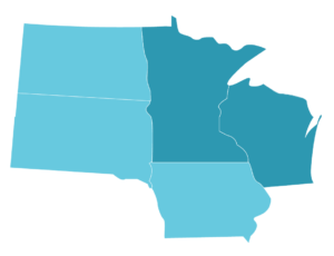 Service coverage area, North Dakota, South Dakota, Minnesota, Iowa, and Wisconsin